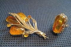 Осенний букет. Серебро, янтарь. 9 тыс руб